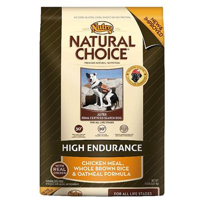 Nutro Presents Nutro Natural Choice Adult High Endurance Chicken Meal Whole Brown Rice &amp; Oatmeal Formula Dog Food 15lb Bag. Nutro Natural Choice Adult High Endurance Chicken Meal, Whole Brown Rice &amp; Oatmeal Formula Dog Food. If your Dog is Physically Active, a 30/20 Protein-to-Fat Ratio will Help Ensure Balanced Energy and Accelerated Muscle Recovery. This High-Energy Diet is Designed to Fuel your Adult Dog and Help them Perform and Stay Healthy. [37407]