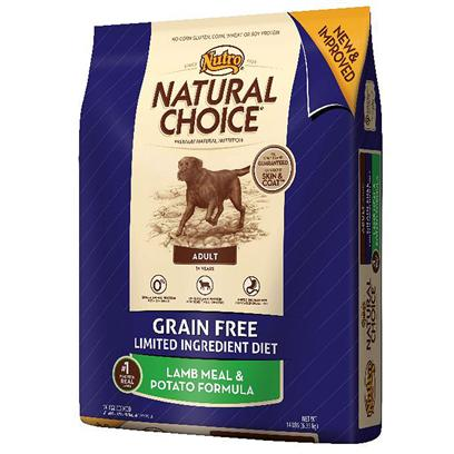 Nutro Presents Nutro Natural Choice Grain Free Adult Lamb Meal &amp; Potato Formula Dog Food 14lb Bag. Nutro Natural Choice Grain Free Adult Lamb Meal &amp; Potato Formula Dog Food. Some Dogs are Sensitive to Certain Grains or Proteins. Natural Choice Grain Free Adult Lamb Meal &amp; Potato Formula Provides a Gluten-Free, Grain Free and Limited Ingredient Diet Formula to Help Reduce the Likelihood of Food Sensitivity. Pasture-Fed Australian and New Zealand Lamb is the Single, Novel Animal Protein. This Natural Dog Food Formula Contains no Corn Meal, Wheat or Soy Protein. And, Like all of our Natural Dry Dog Food, itS 100% Produced in our Own U.S. Facilities so you can Feed your Dog Quality Nutrition. [37411]