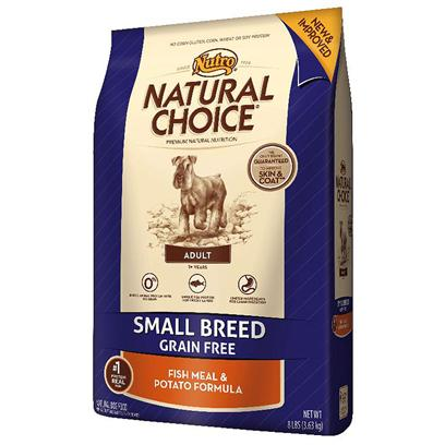 Nutro Presents Nutro Natural Choice Small Breed Adult Grain Free Fish Meal & Potato Formula 4lb Bag. Is your Small Breed'S Food Sensitivity Keeping them from Being a Dog? Help Minimize the Likelihood of Digestive Issues with Natural Choice Grain Free Small Breed Adult Fish Meal & Potato Formula. It'S a Limited Ingredient Diet, Gluten-Free Formula that'S Made just for Small Dogs. This Natural Dog Food Features Omega-Rich Fish and Highly Digestible Potatoes for a Great Taste Even Finicky Eaters will Enjoy. It also Contains no Artificial Colors, Flavors or Preservatives. Help Keep your Dog Happy, Healthy and Feeling Like Themselves. [37412]