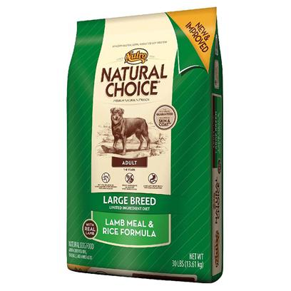 Nutro Presents Nutro Natural Choice Large Breed Adult Lamb Meal &amp; Rice Formula 30lb Bag. Limited Ingredient Diets for Large Breed Dogs can Help Minimize Food Sensitivities, Make Digestion Easier and Ensure that your Dog Receives the Natural Nutrition they Need. This Natural Choice Lamb Meal &amp; Rice Formula Dog Food Offers a Premium Taste your Dog will Enjoy while Providing the Necessary Vitamins, Minerals and Antioxidants that are Crucial for a Healthy Metabolism. Each Bite is Infused with Patented Levels of Omega-6 Fatty Acid (Linoleic), Zinc and B Vitamins to Guarantee a Soft Coat that Shines. Plus, your Adult Large Breed Dog will Enjoy the Added Benefit of Naturally Sourced Glucosamine and Chondroitin for Strong Joints and Cartilage to Keep them Moving. [37414]