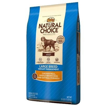 Nutro Presents Nutro Natural Choice Large Breed Adult Weight Management Chicken Meal Whole Brown Rice & Oatmeal Formula 30lb Bag. Help Large Breed Dogs that are Prone to Weight Gain Maintain their Ideal Body Condition. Our Natural Choice® Large Breed Weight Management Adult Dog Food Features Natural Fibers and Whole Grains. It'S Specifically Designed to Help Dogs Feel Full and Help Maintain their Ideal Body Condition. Made with Real Chicken Protein, this Natural Dog Food Tastes Great and is Easy to Digest. A Unique Blend of Amino Acids, Vitamins, Minerals and Naturally Sourced Nutrients, Such as Glucosamine and Chondroitin, also Ensure a Soft, Shiny Coat and Strong, Healthy Joints. It'S the Best Way to Provide Complete Nutrition without Sacrificing Great Taste. [37416]