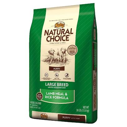 Nutro Presents Nutro Natural Choice Large Breed Puppy Lamb Meal &amp; Rice Formula 30lb Bag. Natural Choice Limited Ingredient Diet Large Breed Puppy Food is Designed to Help Provide Healthy, Balanced Growth for Large Breed Puppies. Made with Premium Australian and New Zealand Lamb Meal and Whole Brown Rice, your Puppy will Get the Natural Nutrition they Need without Added Ingredients that Could Cause Digestive Problems or Aggravate Food Sensitivity. Our Limited Ingredient Diet Formula is a Careful Blend of Proteins, Fats, Vitamins and Minerals that Promotes Proper Skeletal Development. Plus, its Naturally Sourced Glucosamine and Chondroitin Help to Develop Strong and Healthy Joints, and it has a Delicious Taste your Large Breed Puppy will Enjoy again and Again. [37418]