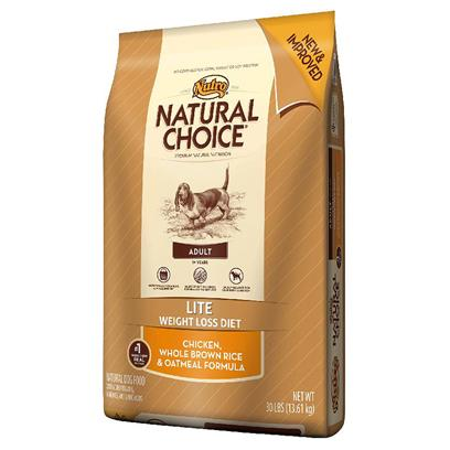 Nutro Presents Nutro Natural Choice Lite Adult Chicken Whole Brown Rice &amp; Oatmeal Formula Dog Food 5lb Bag. Natural Choice Lite Adult Dog Food Helps Overweight Dogs Achieve a More Healthy Weight. The Very First Ingredient in this Nutritionally Complete, Low-Calorie, Natural Diet Dog Food is U.S.-Farm-Raised Chicken. It Delivers Amino Acids that Overweight Dogs Need to Build Lean Muscle and Maintain a Healthy Metabolism. WeVe also Perfected a Mix of High Fiber and Protein to Help Dogs Feel Full, which can Reduce their Food Intake to Aid in Weight Loss. Think of it as all of the Nutrients Adult Dogs Need  without the Extra Calories [37430]