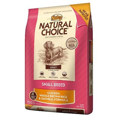 Nutro Presents Nutro Natural Choice Small Breed Adult Chicken Whole Brown Rice &amp; Oatmeal Formula Dog Food 15lb Bag. Nutro Natural Choice Small Breed Adult Chicken, Whole Brown Rice &amp; Oatmeal Formula Dog Food. Small Breed Puppies have Higher Metabolisms, Sensitive Skin, Developing Teeth and are Often Finicky Eaters. They Require the Right Energy and Nutrients from their Food in Order to Support Rapid Growth. Because Finding the Right Food is Crucial to their Overall Development, weVe Formulated a Natural Diet for their Specific Needs. Made with Real, Farm-Raised Chicken, this Healthy, Natural Small Breed Puppy Food Contains Targeted Levels of Protein, Dha, Minerals, and the Right Balance of Calcium and Phosphorus. Its Unique Kibble Shape is Designed to Reduce Tartar and Plaque Buildup. Plus, our Natural Puppy Food Never Uses Artificial Colors, Flavors or Preservatives and is Packed with a Taste your Small Breed Puppy will Enjoy. [37448]
