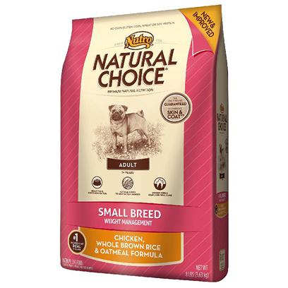 Nutro Presents Nutro Natural Choice Small Breed Adult Weight Management Chicken Whole Brown Rice &amp; Oatmeal Formula 4lb Bag. Not all Small Breed Dogs are Prone to Weight Gain. But for Those who are, weVe Formulated a Unique Diet with Targeted Levels of Protein, Fiber and Fat to Help them Achieve and Maintain a Healthy Weight. Natural Choice Small Breed Adult Weight Management Dog Food will Help Small Dogs Feel Full and will Please Even Picky Eaters. This Natural Formula Features Premium Ingredients, Such as Real Chicken (the #1 Ingredient), Whole Brown Rice and Sunflower Oil. Nutro is Committed to Using the Most Nutritious, Natural Ingredients to Help Dogs with Weight Maintenance so they can Live Long, Healthy Lives. [37450]