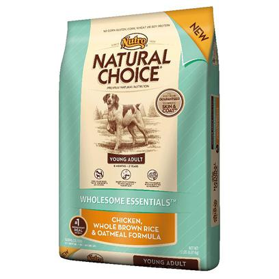 Nutro Presents Nutro Natural Choice Young Adult Wholesome Essentials Chicken Whole Brown Rice &amp; Oatmeal Formula 5lb Bag. Dogs Between the Ages of 6 Months and 2 Years Old are Young Adults. Young Adult Dogs Might Look Full-Grown, but they Still Need Nutrients for Development  without the Extra Calories that Lead to Early Weight Gain. The Natural Choice Brand is the First Pet Food Company to Identify this Nutritional Need and Offer Natural Young Adult Dog Food Formulas. Natural Choice Wholesome Essentials Young Adult Dog Food Ensures Dogs Get the Natural Nutrition they Need for Proper Development of the Brain and Nervous System and Strong, Healthy Bones. ItS a Real Difference you can Actually See. [37457]