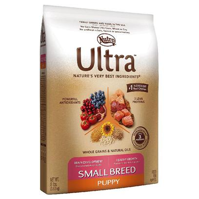 Nutro Presents Nutro Ultra Small Breed Puppy Dry Dog Food 8lb Bag. Ultra Holistic Small Breed Puppy Food is Made with Nutrient-Dense, Natural Superfoods for High Levels of Antioxidants and Dha to Give Small Breed Puppies a Healthy Heart, Strong Immune System, and Healthy Brain Development. We Know that Puppies Burn a Lot of Energy and Calories Throughout the Day. That's Why the Ultra Brand Created a Specially Formulated Natural Dry Puppy Kibble Recipe for Small Breed Dogs that's Easy to Chew and Full of Holistic, all-Natural Ingredients to Help them Grow Big and Strong. [37473]