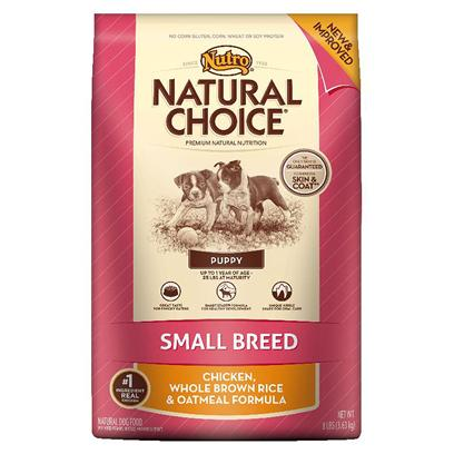 Nutro Presents Nutro Natural Choice Small Breed Puppy Chicken Whole Brown Rice & Oatmeal Formula 8lb Bag. Small Breed Puppies have Higher Metabolisms, Sensitive Skin, Developing Teeth and are Often Finicky Eaters. They Require the Right Energy and Nutrients from their Food in Order to Support Rapid Growth. Because Finding the Right Food is Crucial to their Overall Development, we'Ve Formulated a Natural Diet for their Specific Needs. Made with Real, Farm-Raised Chicken, this Healthy, Natural Small Breed Puppy Food Contains Targeted Levels of Protein, Dha, Minerals, and the Right Balance of Calcium and Phosphorus. Its Unique Kibble Shape is Designed to Reduce Tartar and Plaque Buildup. Plus, our Natural Puppy Food Never Uses Artificial Colors, Flavors or Preservatives and is Packed with a Taste your Small Breed Puppy will Enjoy. [37487]