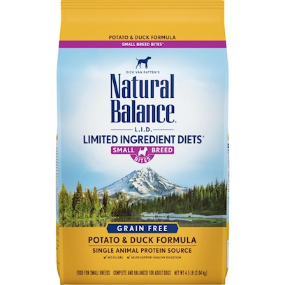 Natural Balance Presents Natural Balance L.I.D Limited Ingredient Diets Potato and Duck Small Breed Bites Dry Dog Formula 12.5lb Bag. Dick Van Patten's Natural Balance L.I.D. Limited Ingredient Diets Potato &amp; Duck Small Breed Bites Dry Formula is our Special Grain-Free Diet which Provides High Quality Nutrition for your Dog, with a Limited Number of Protein and Carbohydrate Sources. This Premium Formula is Complete and Balanced for all Breeds and Life Stages from Puppies to Adults. Because Digestion Begins in the Mouth, Smaller Kibble is Designed to Accommodate the Unique Needs of your Small Breed Dog. Every Bite is Packed with Flavor, Rich in Nutrients and Easy to Digest. [37490]