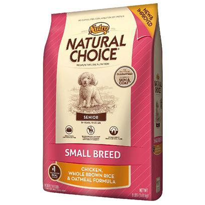 Nutro Presents Nutro Natural Choice Small Breed Senior Chicken Whole Brown Rice &amp; Oatmeal Formula 4lb Bag. Natural Choice Small Breed Senior Dry Dog Food Features our Unique Senior Support System Formula that was Created Specifically for Older, Small Breed Dogs. Many Smaller Dogs Live Up to 20 Years, so theyLl Benefit from our Premium Blend of Natural Antioxidants, Omega-3 Fatty Acids and Protein to Support their Immune Systems and Meet their Energy Needs. Made for Smaller Mouths that are Prone to Overcrowding, our Kibble can Help Naturally Reduce Plaque and Tartar Buildup. Your Senior Dog will Enjoy the Taste of Real Chicken, Whole Brown Rice and Oatmeal. And youLl Love the Results  Guaranteed. [37499]