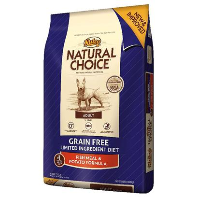 Nutro Presents Nutro Natural Choice Grain Free Adult Fish Meal & Potato Formula Dog Food 4lb Bag. Nutro Natural Choice Grain Free Adult Fish Meal & Potato Formula Dog Food. We Understand that some Dogs are Sensitive to Certain Grains or Proteins. That'S Why we are Proud to Offer a Gluten-Free, Grain Free and Limited Ingredient Diet Formula for Adult Dogs with Food Sensitivity. Natural Choice® Grain Free Adult Dog Food Features Natural Fish as a Single, Novel Animal Protein and Potatoes as a Healthy, Highly Digestible Carbohydrate. Our Natural Dog Foods are Guaranteed to Improve Skin and Coat or your Money Back. You'Ll see a Real Difference in your Dog with our Premium, Natural Nutrition. [37501]
