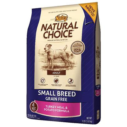 Nutro Presents Nutro Natural Choice Small Breed Adult Grain Free Turkey Meal &amp; Potato Formula 8lb Bag. Does your Small Breed Dog have Food Sensitivity? Help Him Reduce the Likelihood of Stomach Sensitivity with Natural Choice Grain Free Small Breed Adult Turkey Meal &amp; Potato Formula Dog Food. This Grain Free Dog Food is a Gluten-Free, Limited Ingredient Diet Formula. It Features Natural, Farm-Raised Turkey as the Single, Novel Animal Protein Source and Potatoes for a Highly Digestible Carbohydrate Source. Plus, Natural Choice Grain Free Dog Food is the only Brand Guaranteed to Improve Skin and Coat Health. [37504]