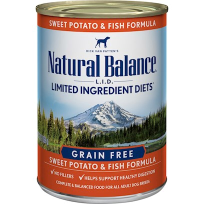 Natural Balance Presents Natural Balance L.I.D Limited Ingredient Diets Fish and Sweet Potato Canned Dog Formula 13oz - Case of 12. Dick Van Patten's Natural Balance L.I.D. Limited Ingredient Diets Fish &amp; Sweet Potato Canned Formula is our Special Grain-Free Diet which Provides High Quality Nutrition for your Dog, with a Limited Number of Protein and Carbohydrate Sources. Natural Balance Fish &amp; Sweet Potato Canned Formula Contains a Premium Quality Protein Source not Commonly Used in Pet Foods, and a Premium Quality Carbohydrate, Rich in Potassium and Highly Digestible Energy Source. This Unique Blend Assures a High Digestibility and Contains all of the Nutrients, Vitamins and Minerals Necessary for your Dog. They do not Use Grains Such as Wheat, Barley, Rice or Corn. Scientifically Formulated to Provide High Quality Nutrition and Optimize your DogS Skin and Coat, L.I.D. Limited Ingredient Diets are Complete and Balanced Options for all Breeds and Life Stages. All Natural Balance Pet Foods have been Developed by Veterinarians and Animal Nutritionists. [37513]