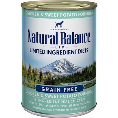 Natural Balance Presents Natural Balance L.I.D Limited Ingredient Diets Sweet Potato and Chicken Canned Dog Formula 13oz - Case of 12. Dick Van Patten's Natural Balance L.I.D. Limited Ingredient Diets Chicken &amp; Sweet Potato Canned Formula is our Special Grain-Free Diet which Provides High Quality Nutrition for your Dog, with a Limited Number of Protein and Carbohydrate Sources. Natural Balance Chicken &amp; Sweet Potato Canned Formula Contains a Premium Quality Protein Source not Commonly Used in Pet Foods, and a Premium Quality Carbohydrate, Rich in Potassium and Highly Digestible Energy Source. This Unique Blend Assures a High Digestibility and Contains all of the Nutrients, Vitamins and Minerals Necessary for your Dog. They do not Use Grains Such as Wheat, Barley, Rice or Corn. Scientifically Formulated to Provide High Quality Nutrition and Optimize your DogS Skin and Coat, L.I.D. Limited Ingredient Diets are Complete and Balanced Options for all Breeds and Life Stages. All Natural Balance Pet Foods have been Developed by Veterinarians and Animal Nutritionists. [37515]