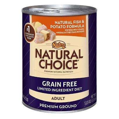 Nutro Presents Nutro Natural Choice Canned Adult Grain Free Limited Ingredient Diet Fish Meal &amp; Potato Formula Dog Food 12.5oz Cans/Case of 12. Perfect for the Dog with Food Sensitivity, Natural Choice Grain Free Adult Natural Fish &amp; Potato Formula Premium Ground Dog Food is a Gluten-Free Formula and Features Potatoes as a Highly-Digestible Carbohydrate. ItS a Premium, Natural Dog Food with Limited Ingredients for Sensitive Skin and Stomachs. And to Keep your Dog Looking Great, itS Formulated for Healthy Skin and Coats. [37534]