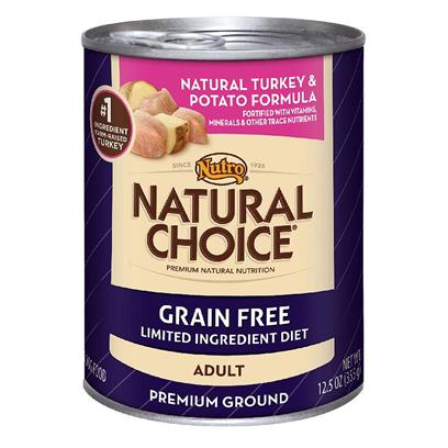 Nutro Presents Nutro Natural Choice Canned Adult Grain Free Limited Ingredient Diet Turkey Meal &amp; Potato Formula Dog Food 12.5oz Cans/Case of 12. Nutro Natural Choice Grain Free Adult Natural Turkey &amp; Potato Formula Premium Ground Dog Food is a Perfect Option for Dogs with Food Sensitivity. This Natural Dog Food has 0% Grain, is a Gluten-Free Formula and Uses a Limited Number of Ingredients. To Minimize Digestive Issues, itS Made with Farm-Raised Turkey as the Single, Novel Animal Protein Source and Highly-Digestible Potatoes. This Wet Dog Food also is Formulated to Help your DogS Skin and Coat. [37535]