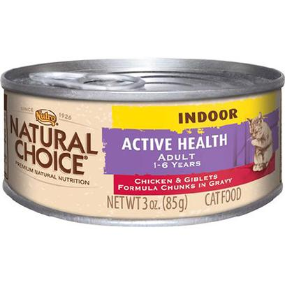 Nutro Presents Nutro Natural Choice Canned Adult Cat Indoor Active Health Chicken &amp; Giblets Formula Chunks in Gravy 3oz Cans/Case of 24. Cats DonT Think in Terms of Nutrients, they just Know what they Love and Need. Luckily, at Nutro, they do Too. Natural Choice Active Health Wet Indoor Cat Food with Chicken and Giblets Delivers the Ideal Natural Nutritional Balance that Cats Intuitively Seek from their Diet. Ideal Nutrient Balance Developed by Waltham, is the Perfect Mix of Protein, Fat, and Carbohydrates Along with Essential Vitamins and Minerals.Natural Choice Chicken and Giblets Active Health Natural Canned Indoor Cat Food is Scientifically Formulated for Adult Cats from 1-6 Years of Age. Chicken is Added as a Premium Protein Source, Vitamin D for Calcium Absorption, Taurine for Heart and Vision Health, as Well as Omega-6 and Omega-3 for Healthy Skin and Fur, to Help your Cat Live a Long, Healthy Life. Like all Nutro's Natural Wet Indoor Cat Food,they Use only 100% Natural Ingredients with Absolutely no Artificial Flavors or Additives. So, you can be Sure youRe Getting only the Most Premium, Natural Ingredients for your Indoor Cat. [37541]
