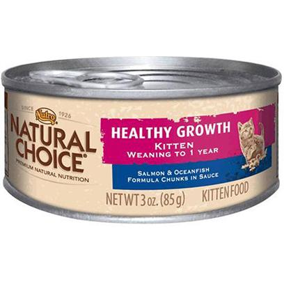 Nutro Presents Nutro Natural Choice Canned Kitten Healthy Growth Salmon &amp; Oceanfish Formula Chunks in Gravy 3oz Cans/Case of 24. At Nutro they Think in Terms of Natural Nutrition and Nutrients. Kittens DonT. They just Know what they Love. Natural Choice Healthy Growth Wet Kitten Food with Salmon and Oceanfish Delivers the Ideal Nutritional Balance that Kittens Naturally and Intuitively Seek. Ideal Nutrient Balance Developed by Waltham, Creates the Perfect Mix of Proteins, Fats, and Carbohydrates Along with Essential Vitamins and Minerals. Natural Choice Salmon and Oceanfish Canned Indoor/Outdoor Kitten Food is Scientifically Formulated for Kittens Weaning to One Year of Age. Nutro has Added Salmon and Oceanfish as Premium Protein Sources, Manganese for Bone Remodeling, Taurine for Heart and Vision Health, as Well as Omega-6 and Omega-3 for Healthy Skin and Fur, to Help your Kitten Live a Long, Healthy Life. As with all of their Natural Kitten Food, Nutro Uses only 100% Natural Ingredients with Absolutely no Artificial Flavors. You can be Sure youRe Getting only the Most Premium, Natural Ingredients for your Kitten. [37547]