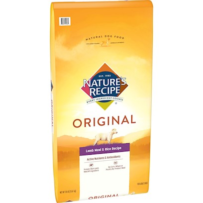 Del Monte Presents Nature's Recipe Adult Lamb Meal &amp; Rice 30lb Bag. Feed your Dog Like a Grown-Up Nature's Recipe Adult Lamb Meal &amp; Rice Dry Recipe is Specifically Formulated to Meet the Nutritional Needs of an Active Adult Dog. That's Why we Use Lamb Meal, a Source of Protein to Maintain your Dog's Healthy Muscles and Energy, and we Add Flaxseed as a Source of Omega Fatty Acids. [37613]