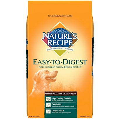 Del Monte Presents Nature's Recipe-Easy to Digest Chicken Meal Rice and Barley Recipe 15lb Bag. Intestinal Health Never Tasted so Good does your Dog Like the Taste of Chicken? Trick Question. All Dogs Like the Taste of Chicken. That's Why they Love Nature's Recipe Easy-to-Digest Chicken Meal, Rice &amp; Barley Recipe, Full of Ingredients Rich in Protein to Maintain Strong Muscles and Fiber for Digestive Health. Give your Dog Something Tasty and Support his Gastrointestinal Health? That's a Dog Food Win-Win. [37614]
