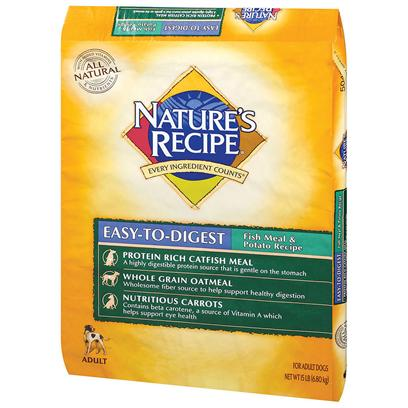 Del Monte Presents Nature's Recipe-Easy to Digest Fish Meal and Potato Recipe Dog Food 30lb Bag. Great Taste, Easy on the Stomach Nature's Recipe Easy-to-Digest Fish Meal &amp; Potato Recipe Provides Dogs with Catfish Meal, a High-Quality Protein Source, to Help Maintain Strong Muscles and a Strong Immune System. It also Includes Potatoes as a Source of Carbohydrates for Energy, and Fiber from Oatmeal and Tomato Pomace to Promote your Dog's Normal, Healthy Gastrointestinal Function. [37616]