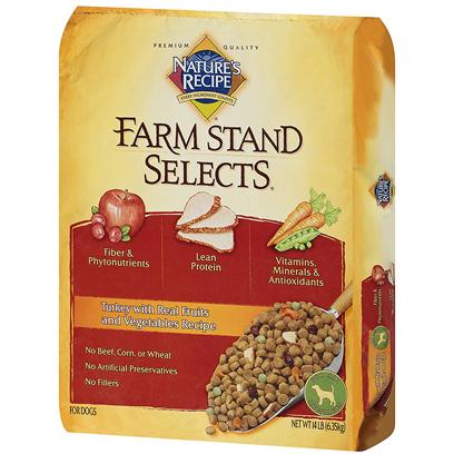 Del Monte Presents Nature's Recipe Farm Stand Select Turkey with Real Fruits and Vegetables 28lb Bag. The Right Variety of High Quality Ingredients, Including Flavorful Fruits and Vegetables, can Make a Meal so Enjoyable. That is Why NatureS Recipe Farm Stand Selects Contains Carefully Selected Real Fruits and Vegetables, Savory Turkey and Hearty Grains. It is a Delicious and Nutritious Meal that will Delight your DogS Taste Buds while Nourishing his Body. And Since it is from NatureS Recipe, Farm Stand Selects Delivers Great Taste Naturally, without Artificial Preservatives, Colors or Flavors. Give your Dog a Sweet Surprise of Flavorful Fruits and Tasty Vegetables for the Great Taste he Deserves! [37618]