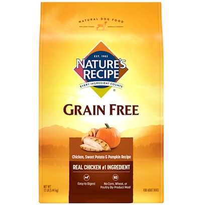 Del Monte Presents Nature's Recipe Grain Free Easy-to-Digest Chicken Sweet Potato and Pumpkin 24lb Bag. Look Ma, no Grain Nature's Recipe Grain-Free Easy-to-Digest Chicken, Sweet Potato &amp; Pumpkin Recipe is a Tasty, High-Energy Blend for your Dog Made with Chicken for Protein. The Magic doesn't Come from the Protein, Though. It Comes from Using Sweet Potato and Pumpkin, with some Added Vitamins, to Craft a Dog Food with no Grain. It is Easy to Digest, and Helps Keep your Dog Active and Healthy. [37620]