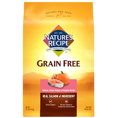 Del Monte Presents Nature's Recipe Grain Free Salmon Sweet Potato and Pumpkin 24lb Bag. We Made Eating Fish Even Healthier it's no Surprise that Salmon is Healthy. And while it's the Number-One Ingredient in Nature's Recipe Grain-Free Easy-to-Digest Salmon, Sweet Potato &amp; Pumpkin Recipe, it's also Part of an all-Star Line-Up Including Nutrient-Dense Carbohydrate Sources to Help your Dog Stay on the Move. Sweet Potatoes and Pumpkin Round out this Mix, Giving your Dog a Nutritious, Easy-to-Digest Food that doesn't Get in the Way of all that Delicious Salmon. Your Dog Wouldn't have it any Other Way. [37622]