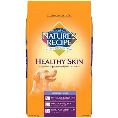 Del Monte Presents Nature's Recipe Healthy Skin Vegetarian 15lb Bag. Fur-Friendly Food a Healthy Coat is a Dog's First Layer of Protection Against the Cold, the Wind, and the Rain. Its Health is Vital to your Dog's Health. And Now Keeping your Dog's Hide Healthy Won't Cost Another Animal its Hide, because Nature's Recipe Healthy Skin Vegetarian Recipe Gives Dogs the Nutrients they Need - Protein and Zinc - all while Remaining 100% Meat Free.Nature's Recipe Healthy Skin Vegetarian Recipe Adult Dog Food is Designed for Dogs that Exhibit Symptoms Such as Dry, Itchy, or Flaky Skin. These Symptoms can be Caused by Intolerances to Common Food Ingredients Such as Beef, Pork, or Dairy Products. Vegetarian Recipe is a Wholesome, Complete, and Balanced Diet that Provides your Adult Dog with the Same Essential Nutrients Found in Diets with Meat as the Protein Source. It is Lactose-Free and Contains no Color Additives or Preservatives Thought to Contribute to Food Intolerances. [37624]