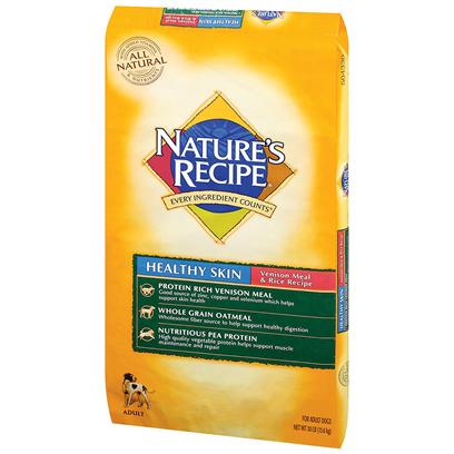 Del Monte Presents Nature's Recipe Healthy Skin Venison Meal and Rice 30lb Bag. Healthy Coats are Always in Fashion Nature's Recipe Healthy Skin Venison Meal &amp; Rice Recipe is Made with Venison Meal and Contains Copper and Zinc - Minerals that Help Maintain a Healthy Coat. And because Dogs can Show their Health in their Coat, it's Always Good to Feed them Right.A Wholesome, Complete and Balanced Maintenance Diet Specifically Formulated for your Adult Dog's Nutritional Needs, our Healthy Skin Venison Meal &amp; Rice Recipe is Based Around a Unique Animal Protein Source and Contains Minerals Like Copper and Zinc, which your Dog Needs to Maintain a Healthy Skin and Coat. Its High Quality Venison Meal, Vegetable Proteins and Grains Work Together to Provide the Amino Acids for Healthy Muscles and a Strong Immune System. [37627]
