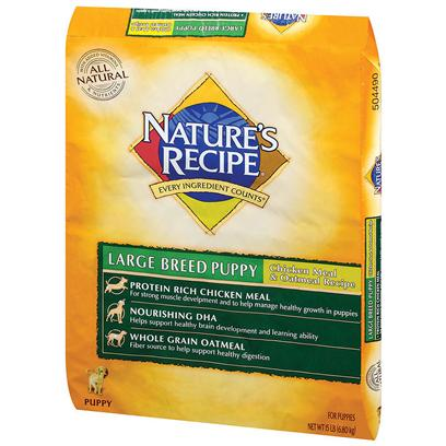 Del Monte Presents Nature's Recipe Large Breed Chicken Meal and Oatmeal Puppy-15lb. Go Big or Go Home our Blend of Chicken Meal, Oatmeal and Barley Helps to Deliver the Nutrients Required to Help Promote Healthy Skin, and Strong Muscles and Joints. And when Fed According to Guidelines, it Helps your Dog Maintain an Ideal Body Weight, Making Nature's Recipe Large Breed Chicken Meal and Oatmeal Recipe the Nutritious Food for Healthy, Active, Big Dogs.Our Large Breed Recipe is Specially Designed for Large Breed Dogs over 50 Pounds and is Made without Many of the Common Ingredients that may Cause Food Intolerance in Dogs. This Complete and Balanced Maintenance Diet Contains no Beef, Corn, Wheat, Soy, or Dairy Products. Instead, Nature's Recipe Chicken Meal and Oatmeal Large Breed Dog Food is Made with a Blend of Carefully Selected, High Quality Ingredients Such as Chicken Meal, Oatmeal, and Barley to Help Promote Healthy Skin and Gastrointestinal Health while Providing the Customized Nutrition your Large Breed Dog Needs to be Healthy, Active, and Happy. [37631]
