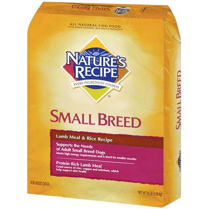 Del Monte Presents Nature's Recipe Small Breed Lamb Meal &amp; Rice 14lb Bag. Small Dog, Big Flavor NatureS Recipe Small Breed Lamb Meal and Rice Recipe is Designed to Support the Needs of your Adult Small Breed Dog. Packed with High Quality Lamb Meal, this Blend Provides a Rich Source of Protein to Support Strong Muscles, Immune System Health and High Energy Requirements. Each Tasty Bite is Perfectly Sized for Small Mouths and Includes a Variety of Minerals to Help Keep your DogS Skin and Coat in Top Condition. The Nature's Recipe Breed Specific Dog Food for Toy Dogs is Made with Carefully Selected Ingredients Like Protein Rich Chicken for Muscle Growth and Repair, and Carbohydrate Rich Pearled Barley to Help Support an Active Lifestyle. Nature's Recipe Breed Specific Dog Food for Toy Dogs also Contains Healthy Antioxidants to Protect your Dog from the Damaging Effects of Free Radicals. Give your Dog the Best, Give them Nature's Recipe Breed Specific Dog Food for Toy Dogs. [37636]