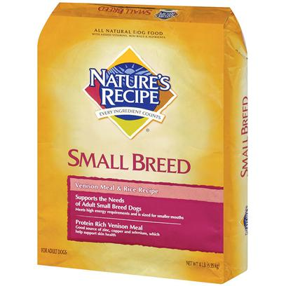 Del Monte Presents Nature's Recipe Small Breed Venison Meal &amp; Rice 14lb Bag. Healthy Oats Make for Shiny Coats Developed with Small Breed Adult Dogs in Mind, NatureS Recipe Small Breed Venison Meal and Rice Recipe is Made with Protein Rich Venison Meal and Contains Copper, Zinc and SeleniumEssential Minerals that Help Maintain a Healthy, Shiny Coat. Throw in some Oats for Fiber, and Now youVe Got a Recipe that Helps Support Healthy Digestion Too. Each Piece is Designed for Small Mouths and Packed with High-Quality Venison for Protein, Perfect for Even the Highest Energy Pup. Nature's Recipe Venison Meal &amp; Rice Small Breed Dog Food Meets all the Special Needs of your Small Breed Dog. By Offering Venison (a Rich Protein Source) Along with a Combination of Minerals, Including Zinc and Copper, this Food will Prove to be a Flavorful Meal for your Little Four-Legged Friend. [37637]