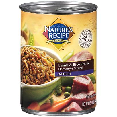 Del Monte Presents Nature's Recipe Adult Lamb &amp; Rice Cuts in Gravy 13.2oz - Case of 12. Lamb Plus Rice to the Power of Gravy Lots of Lamb. Lots of Rice. Yep, Nature's Recipe Lamb &amp; Rice Recipe Cuts in Gravy has Tasty, Protein-Rich, Easy-to-Digest Ingredients and a Healthy Gravy for Taste. It's a Healthy Way to Reward your Dog without Spoiling Him. [37648]