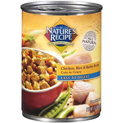 Del Monte Presents Nature's Recipe Dog Food Easy to Digest Chicken Rice &amp; Barley Cuts in Gravy 13.2oz - Case of 12. Nature's Recipe Dog Food Easy to Digest Chicken, Rice &amp; Barley Recipe Cuts in Gravy,Chicken is a Healthy Protein Source for Dogs. But Once we Started Adding Gravy, Brown Rice, and Pearled Barley, we Knew we Had Something. Nature's Recipe Easy-to-Digest Chicken, Rice &amp; Barley Recipe Cuts in Gravy is a Wholesome, Complete Way to Give your Adult Dog the Protein, Vitamins, and Nutrients he Needs. [37649]