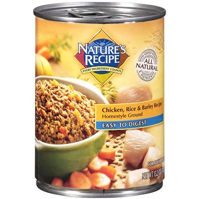 Del Monte Presents Nature's Recipe Dog Food Easy to Digest Chicken Rice &amp; Barley Homestyle Ground 13.2oz - Case of 12. Nature's Recipe Dog Food Easy to Digest Chicken, Rice &amp; Barley Recipe Homestyle Ground, is Made with all the Good Stuff a Healthy Adult Dog Needs all-Natural Chicken and Barley with Added Antioxidants, Vitamins, and Minerals - Together, all the Ingredients Deliver the Nutrients Needed for your Adult Dog's Energy and Digestive Health. [37650]