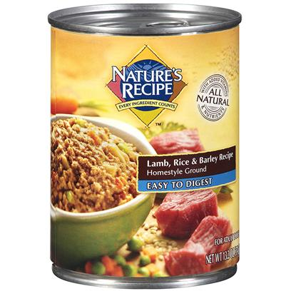 Del Monte Presents Nature's Recipe Dog Food Easy to Digest Lamb Rice &amp; Barley Homestyle Ground 13.2oz - Case of 12. Nature's Recipe Dog Food Easy-to-Digest Lamb, Rice &amp; Barley Recipe Homestyle Ground is Made to Give your Adult Dog a Complete and Balanced Diet. Fiber from Rice and Barley Supports Gastrointestinal Health while Meeting your Dog's Unique Nutritional Needs. [37651]
