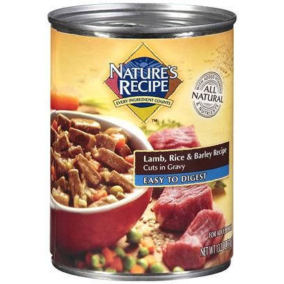 Del Monte Presents Nature's Recipe Dog Food Easy to Digest Lamb Rice &amp; Barley Cuts in Gravy 13.2oz - Case of 12. Nature's Recipe Dog Food Easy-to-Digest Lamb, Rice &amp; Barley Recipe Cuts in Gravy in a Canned Recipe, Served with a Side of Canola Oil? This One of a Kind Gravy is Made with a Healthy Serving of Canola Oil, so it doesn't just Taste Good, it also Gives your Dog Heart-Healthy Omega Fatty Acids. Combine that with Nutritious Peas and Carrots, and it has Everything your Adult Dog Needs for an Active Life. [37652]