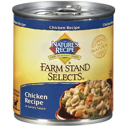 Del Monte Presents Nature's Recipe Farm Stand Select Chicken in Savory Sauce 10oz - Case of 24. Big Nutrition, Little can Made with Chicken, Nature's Recipe Farm Stand Selects Chicken Recipe in Savory Sauce is a Savory, Nutritious Meal for Every Stage of your Dog's Development. Ingredients Include Wholesome Grains and Vegetables. They Use Cuts of Chicken and Carefully Selected Carbohydrate Sources for Energy. Then we Cover it in a Special Sauce that your Dog will Love. It's Healthy and Tasty and Good in a Can. [37653]