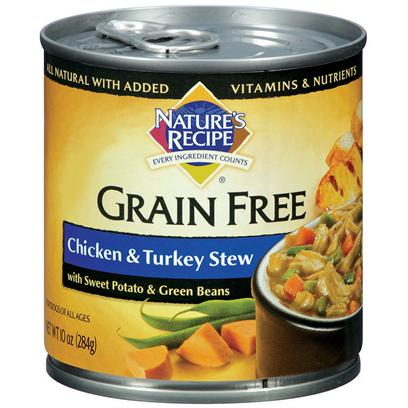 Del Monte Presents Nature's Recipe Grain Free Chicken and Turkey Stew with Sweet Potato Green Beans Dog Food 10oz - Case of 24. Easy on the Stomach for Dogs of all Ages.Created with your DogS Digestion in Mind, NatureS Recipe Grain-Free Chicken and Turkey Stew with Sweet Potato and Green Beans is a Protein-Rich Wet Dog Food that will have Canines of all Ages Begging for More. This Special Formula Combines High-Quality Chicken and Turkey for Protein, Plus Sweet Potato and Green Beans for Tasty, Nutrient-Dense Carbohydrate Sources. ItS also a Healthy and Easy-to-Digest Alternative to Grain. [37656]