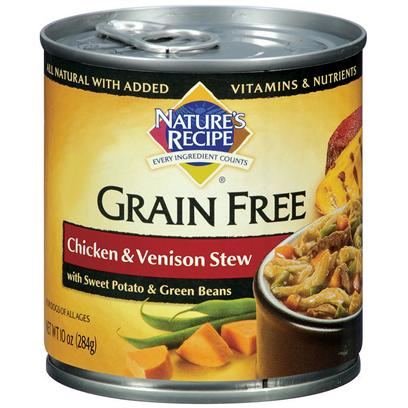 Del Monte Presents Nature's Recipe Grain Free Chicken and Venison Stew with Sweet Potato Green Beans Dog Food 10oz - Case of 24. All the Trimmings without the Grains Nature's Recipe Grain-Free Chicken and Venison Stew with Sweet Potato and Green Beans Features a Savory Combination of Protein-Rich Chicken and Venison and Other all-Natural Ingredients with Added Vitamins &amp; Nutrients. This Special Grain-Free Wet Recipe is Designed to be Easy-to-Digest for Dogs of all Agesfrom the Fussiest Eater, to the Dogs that Devour Absolutely Everything; your Pooch Won't Stop Until they Gobble Every Morsel Up. [37657]