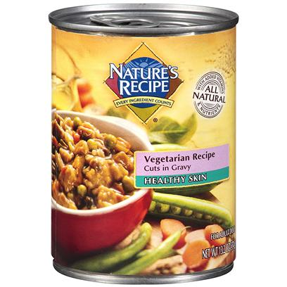 Del Monte Presents Nature's Recipe Healthy Skin Vegetarian Cuts in Gravy Dog Food 13.2oz - Case of 12. Nature's Recipe Healthy Skin Vegetarian Recipe Cuts in Gravy Dog Food. Your Dog can Enjoy Wet Food and a Healthy Coat on a Vegetarian Diet. Nature's Recipe Healthy Skin Canned Vegetarian Recipe Cuts in Gravy Provides a Wholesome, Complete, and Balanced Maintenance Diet for your Dog with no Meat or Animal Proteins. It Even Provides the Omega Fatty Acids and Minerals your Dog Needs to Keep a Healthy Coat. [37658]