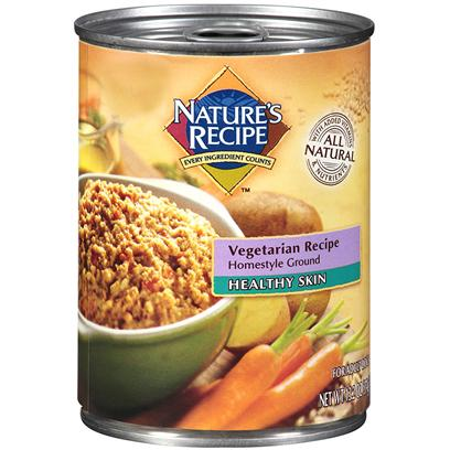 Del Monte Presents Nature's Recipe Healthy Skin Vegetarian Homestyle Ground Dog Food 13.2oz - Case of 12. Your Dog can Enjoy Wet Food, a Healthy Coat, and all the Protein he Needs without Having to Eat Meat. Nature's Recipe Healthy Skin Canned Vegetarian Recipe Homestyle Ground Provides a Wholesome, Complete, and Balanced Maintenance Diet for your Dog with no Meat or Animal Proteins. [37659]