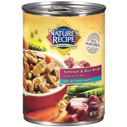 Del Monte Presents Nature's Recipe Healthy Skin Venison and Rice Cuts in Gravy Dog Food 13.2oz - Case of 12. It's Nature's Recipe Healthy Skin Recipe, Made with Meaty Venison and Covered in Savory Gravy. This Healthy Gravy Soaks all of the Protein and Added Vitamins and Minerals your Dog Needs to Maintain a Healthier Coat. [37660]