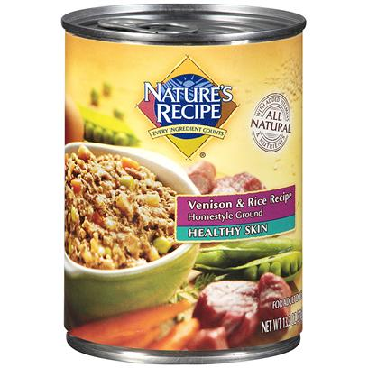 Del Monte Presents Nature's Recipe Healthy Skin Venison and Rice Homestyle Ground Dog Food 13.2oz - Case of 12. Our Famous Nature's Recipe Healthy Skin Canned Venison &amp; Rice Recipe Homestyle Ground - Venison, Brewers Rice, and Added Minerals Like Copper and Zinc. It's a Wholesome, Complete, and Balanced Maintenance Diet for your Dog, Formulated with High-Quality Animal Protein and Designed to Help your Dog's Hair. [37661]