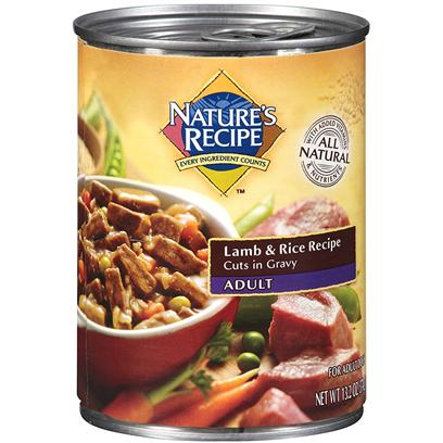 Del Monte Presents Nature's Recipe Adult Lamb &amp; Rice Homestyle Ground 13.2oz - Case of 12. Boost your Dog's Everything in Each can of Nature's Recipe Lamb &amp; Rice Recipe Homestyle Ground You'll Find Tasty Lamb and Rice, with Other Ingredients, Cooked and Mixed, to Provide the Nutrients Required to Power your Dog's Metabolism and Alertness. Now your Dog will be Ready to Take on Anything, which Begs the Question what are you Doing with your Dog Today? [37662]