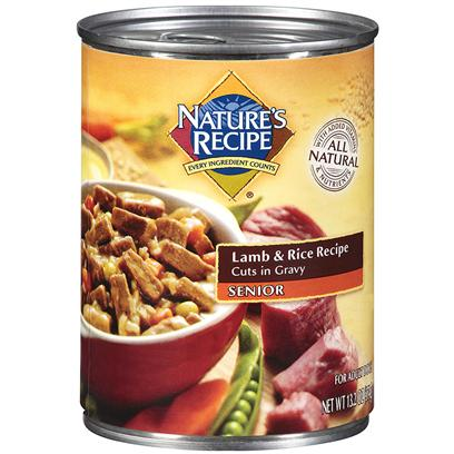 Del Monte Presents Nature's Recipe Senior Lamb and Rice Cuts in Gravy Dog Food 13.2oz - Case of 12. Nature's Recipe Senior Lamb and Rice Recipe Cuts in Gravy Dog Food. Do Dogs' Dietary and Nutritional Needs Change as they Get Older? They Sure Do. Nature's Recipe Senior Lamb &amp; Rice Recipe Cuts in Gravy is Specially Made to Give your Senior Dog the Balanced Diet he Needs Along with Delicious, Healthy Gravy. [37663]