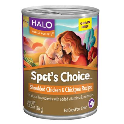 Halo Presents Halo Spot's Choice for Dogs Grain-Free Shredded Chicken &amp; Chickpea Recipe 13.2oz-Case of 12. Halo SpotS Choice Grain-Free Shredded Chicken &amp; Chickpea is a Wholesome Pure and Simple Recipe for Dogs. Grain-Free Single Protein Recipe with the Finest Quality Ingredients. A Complete and Balanced Formula Made with Tasty Shredded Pieces of Roasted Chicken, Nutrient Rich Vegetables, Antioxidants, Fats, Vitamins and Chelated Minerals with no Artificial Colors, Flavors or Preservatives. [37666]