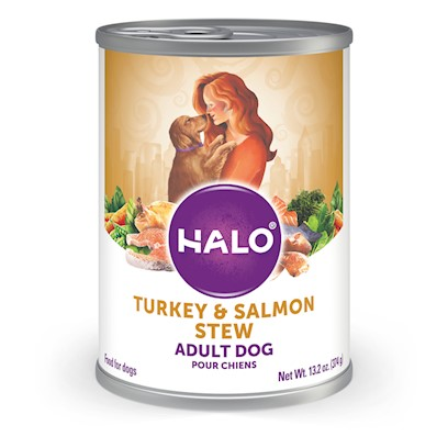 Halo Presents Halo Spot's Stew for Dogs Succulent Salmon Recipe 13.2oz-Case of 12. Halo Spot's Stew Succulent Salmon Recipe has been the 'Gold Standard' in Natural Dog Food for over 25 Years. Only the Highest Quality Protein Grains and Fresh Vegetables Giving this Original Recipe a Superb Taste and Digestibility. There is Absolutely no Inferior by-Products, Rendered Meats or Meals. Spot's Stew's Succulent Salmon Recipe is Formulated for Optimum Protein and Complete Nutrition Helping to Keep Body Tone and Rebuild Body Tissue. And Better yet, it is Ideal for all Life Stages. So Whether you have a New Puppy or Senior Dog, Spot's Stew Succulent Salmon is the Right Choice for your Canine Friend. [37670]