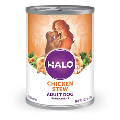 Halo Presents Halo Spot's Stew for Dogs Wholesome Chicken Recipe 5.5oz-Case of 12. Halo Spot's Stew Wholesome Chicken Recipe has been the 'Gold Standard' in Natural Dog Food for over 25 Years. Only the Highest Quality Protein Whole Meats and Grains, Fresh Vegetables Giving this Original Recipe a Superb Taste and Digestibility. There is Absolutely no Inferior by-Products, Rendered Meats or Meals. Spot's Stew's Wholesome Chicken Recipe is Formulated for Optimum Protein and Complete Nutrition Helping to Keep Body Tone and Rebuild Body Tissue. And Better yet, it is Ideal for all Life Stages. So Whether you have a New Puppy or Senior Dog, Spot's Stew Wholesome Chicken is the Right Choice for your Canine Friend. [37672]